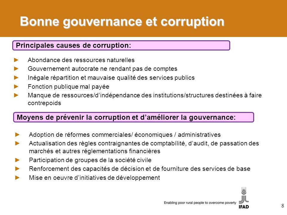 Bonne gouvernance et corruption Abondance des ressources naturelles Gouvernement autocrate ne rendant pas de comptes Inégale répartition et mauvaise q