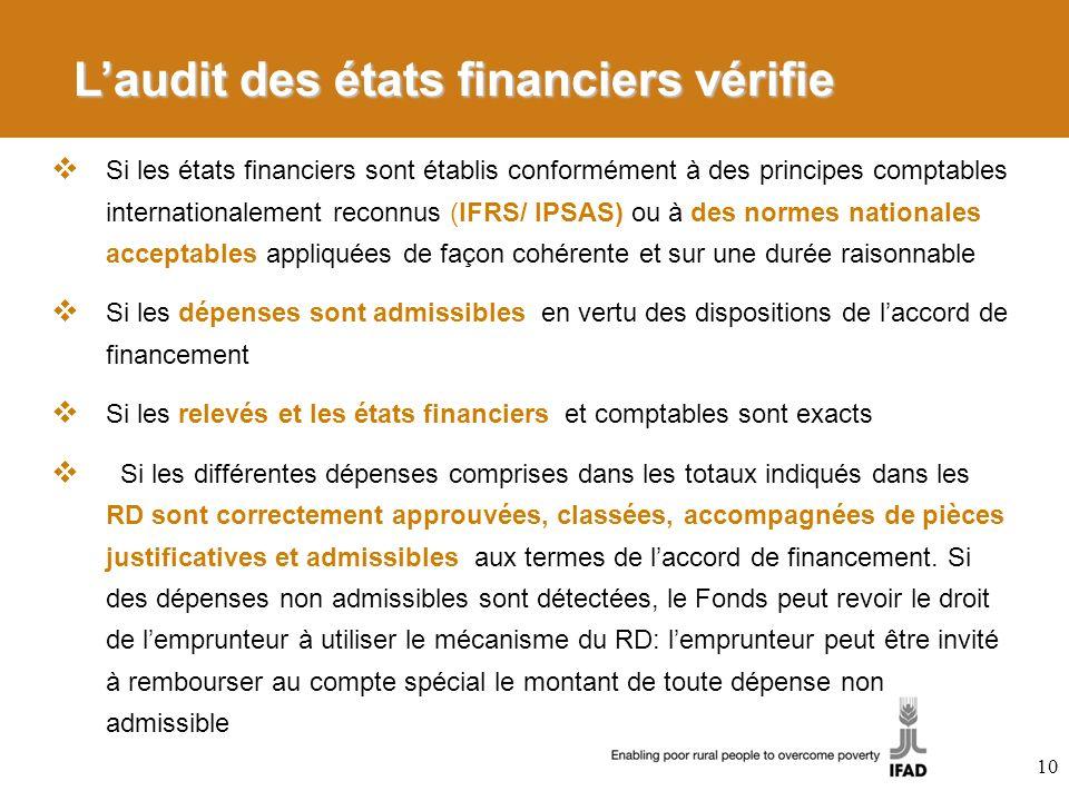 Laudit des états financiers vérifie Si les états financiers sont établis conformément à des principes comptables internationalement reconnus (IFRS/ IP