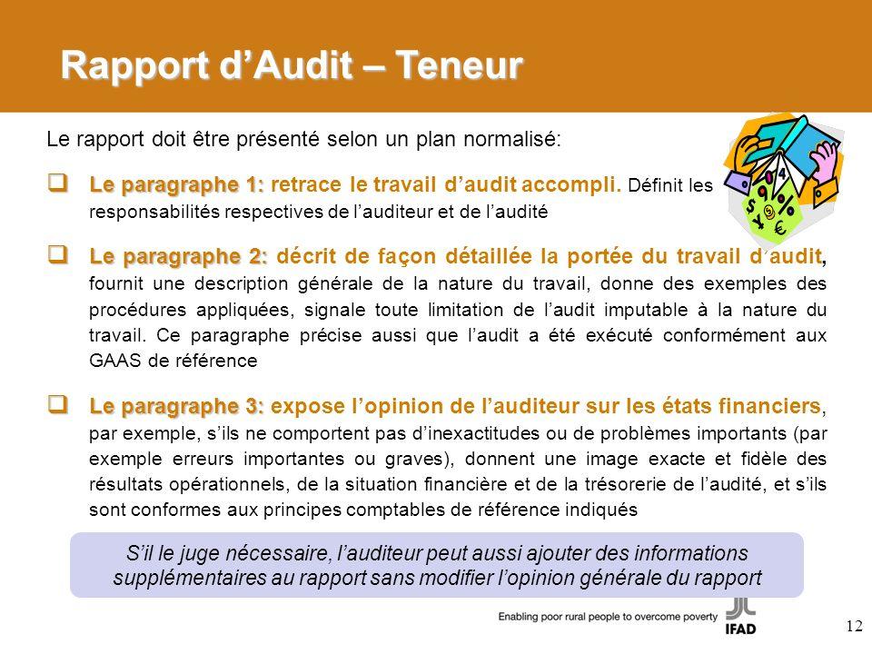 Rapport dAudit – Teneur Le rapport doit être présenté selon un plan normalisé: Le paragraphe 1: Le paragraphe 1: retrace le travail daudit accompli. D