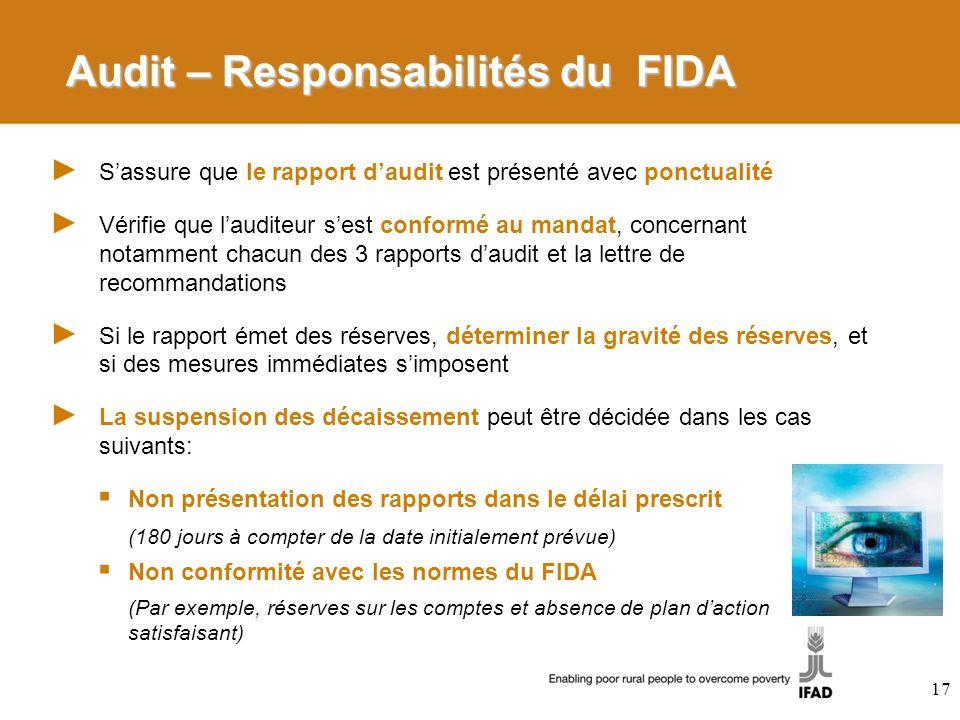 Audit – Responsabilités du FIDA Sassure que le rapport daudit est présenté avec ponctualité Vérifie que lauditeur sest conformé au mandat, concernant