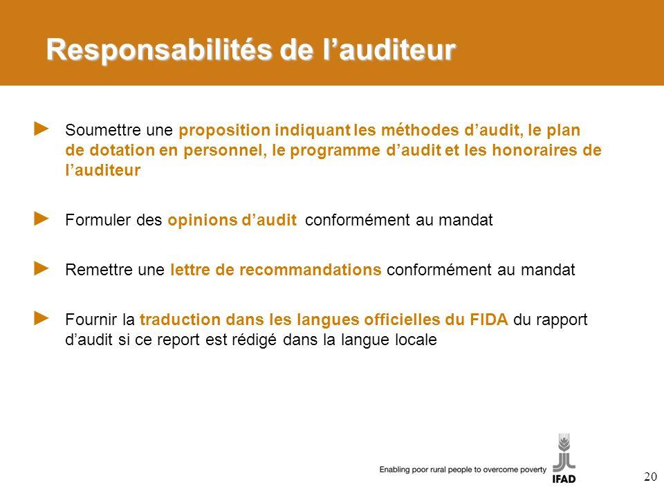 Responsabilités de lauditeur Soumettre une proposition indiquant les méthodes daudit, le plan de dotation en personnel, le programme daudit et les hon