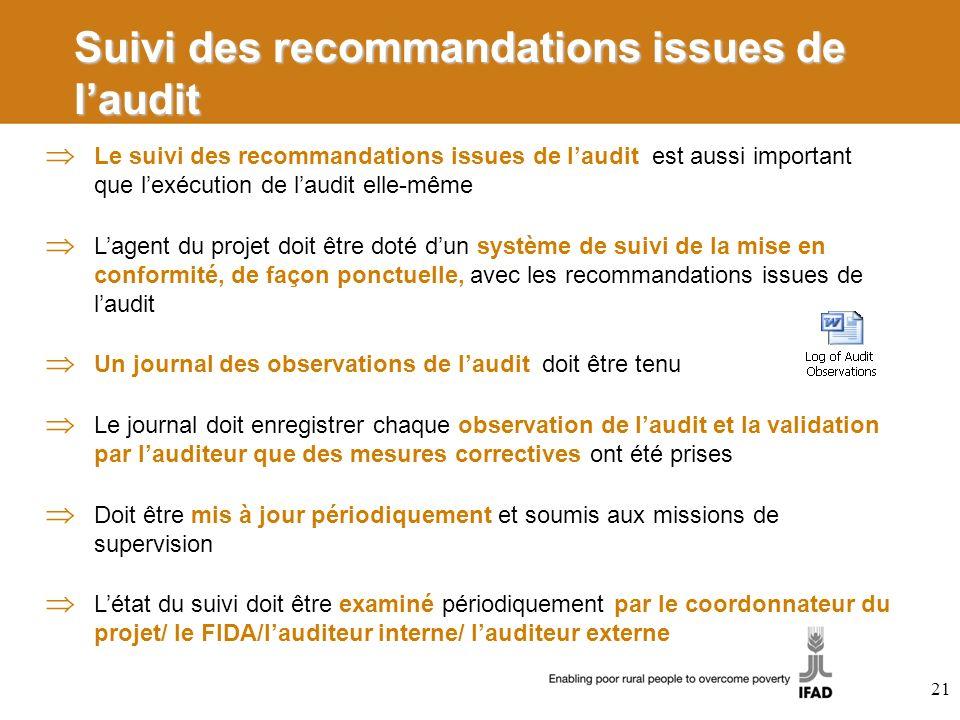 Suivi des recommandations issues de laudit Le suivi des recommandations issues de laudit est aussi important que lexécution de laudit elle-même Lagent
