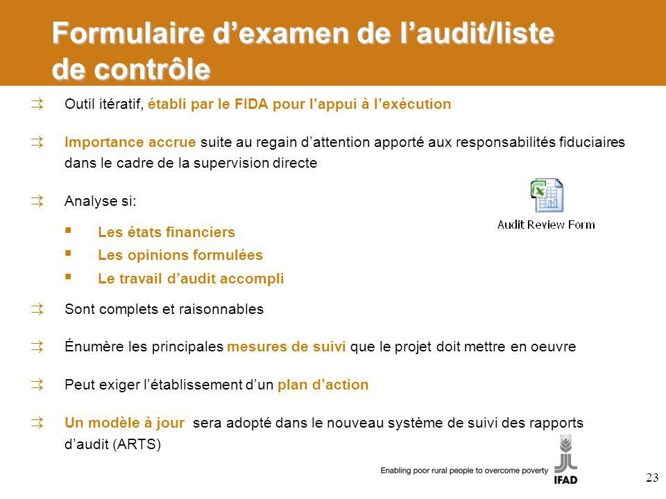 Formulaire dexamen de laudit/liste de contrôle Outil itératif, établi par le FIDA pour lappui à lexécution Importance accrue suite au regain dattentio