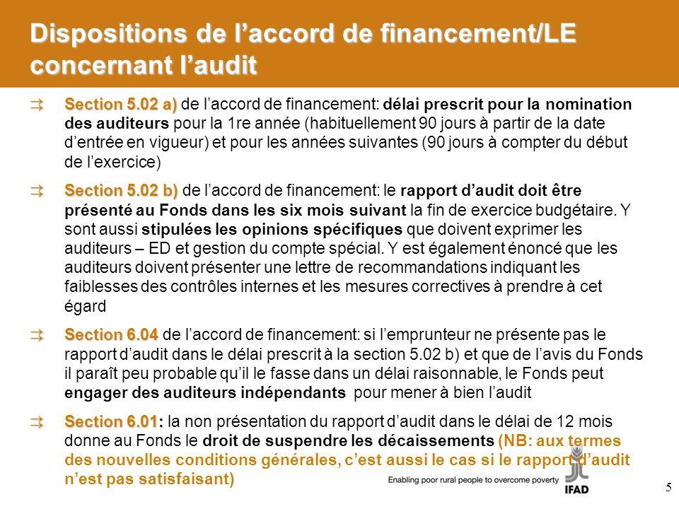 Dispositions de laccord de financement/LE concernant laudit Section 5.02 a) Section 5.02 a) de laccord de financement: délai prescrit pour la nominati