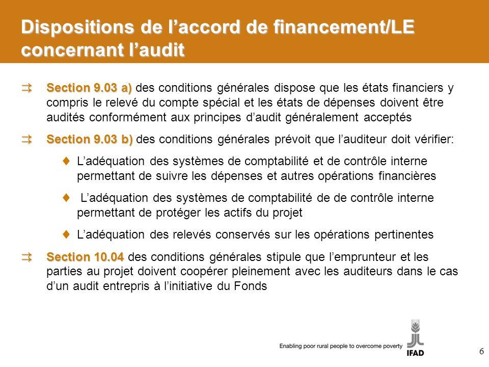 Section 9.03 a) Section 9.03 a) des conditions générales dispose que les états financiers y compris le relevé du compte spécial et les états de dépens