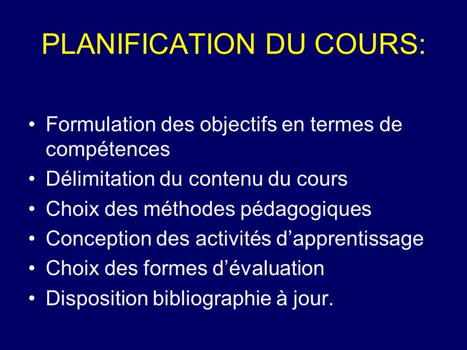 PLANIFICATION DU COURS: Formulation des objectifs en termes de compétences Délimitation du contenu du cours Choix des méthodes pédagogiques Conception