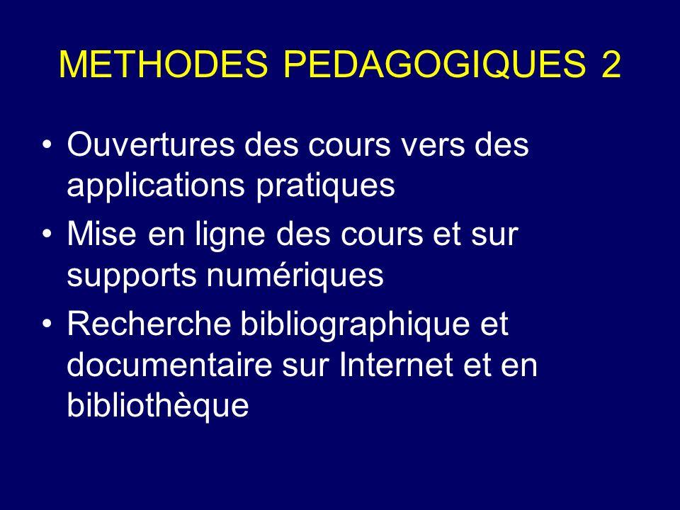 METHODES PEDAGOGIQUES 2 Ouvertures des cours vers des applications pratiques Mise en ligne des cours et sur supports numériques Recherche bibliographi