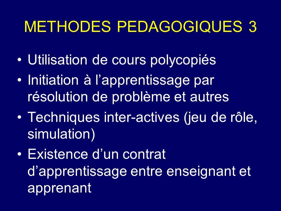 METHODES PEDAGOGIQUES 3 Utilisation de cours polycopiés Initiation à lapprentissage par résolution de problème et autres Techniques inter-actives (jeu
