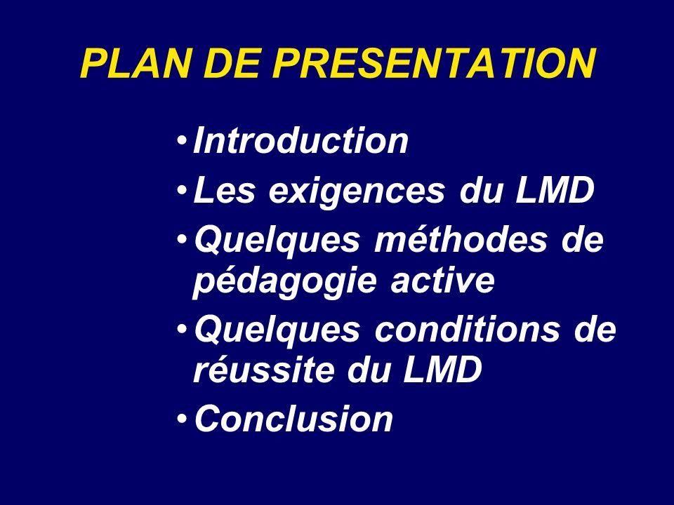 PLAN DE PRESENTATION Introduction Les exigences du LMD Quelques méthodes de pédagogie active Quelques conditions de réussite du LMD Conclusion