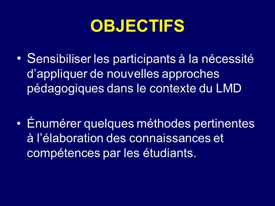 OBJECTIFS S ensibiliser les participants à la nécessité dappliquer de nouvelles approches pédagogiques dans le contexte du LMD Énumérer quelques métho