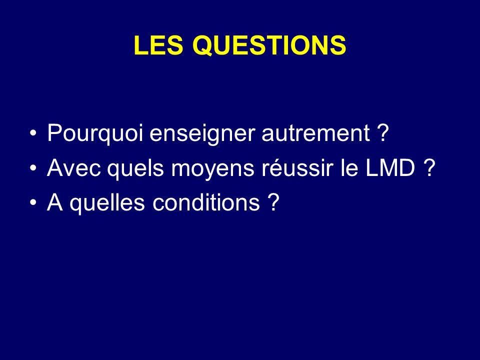 LES QUESTIONS Pourquoi enseigner autrement ? Avec quels moyens réussir le LMD ? A quelles conditions ?