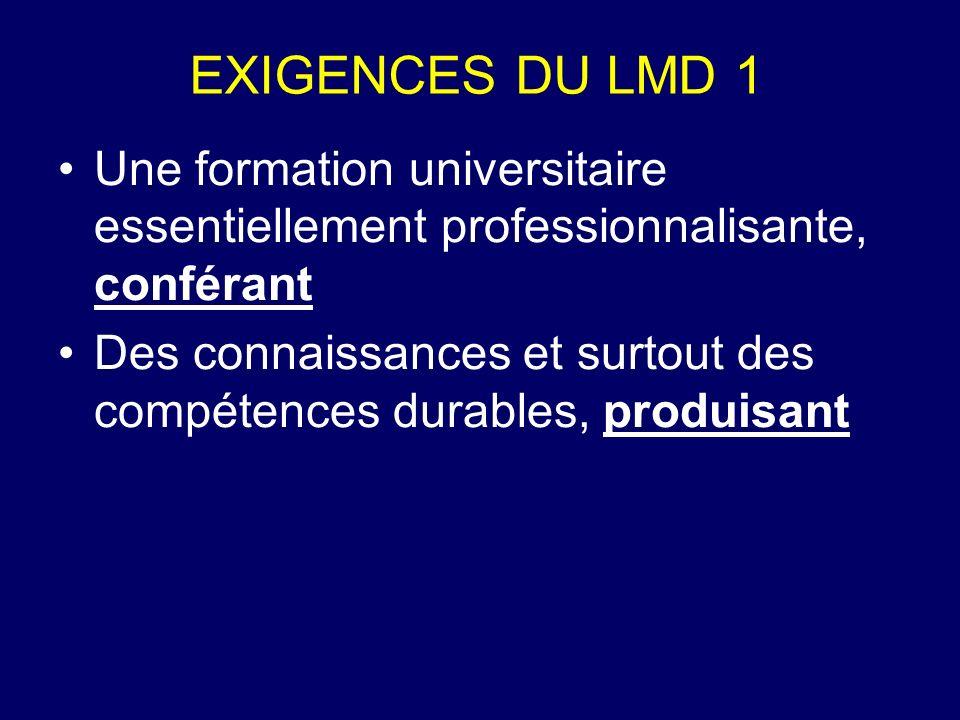 EXIGENCES DU LMD 2 des diplômés capables doccuper un emploi dans la société ou capables développer des connaissances nouvelles Des universités de développement, donc à responsabilité sociale etc.