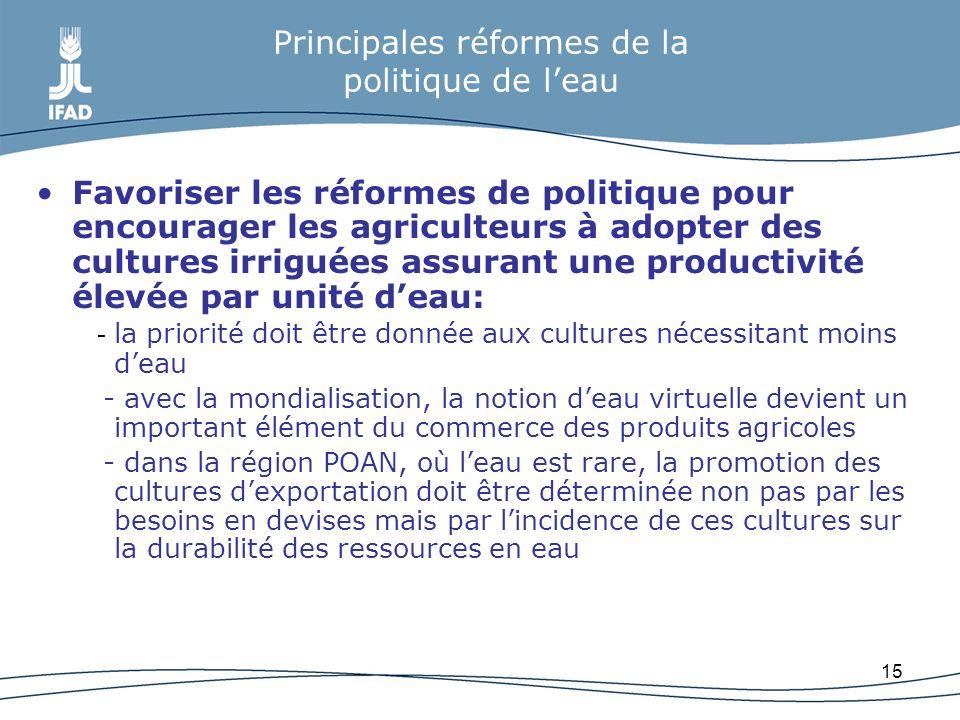 15 Principales réformes de la politique de leau Favoriser les réformes de politique pour encourager les agriculteurs à adopter des cultures irriguées