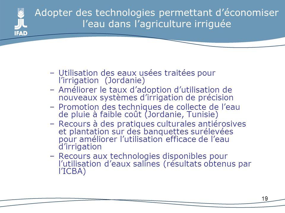19 Adopter des technologies permettant déconomiser leau dans lagriculture irriguée –Utilisation des eaux usées traitées pour lirrigation (Jordanie) –A