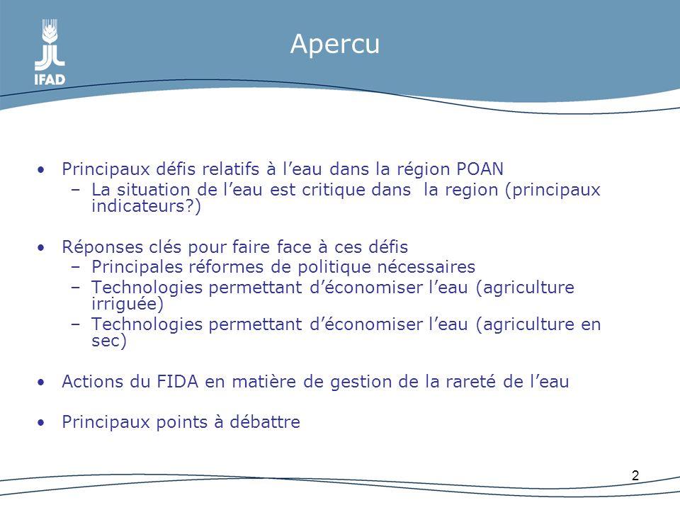 2 Apercu Principaux défis relatifs à leau dans la région POAN –La situation de leau est critique dans la region (principaux indicateurs?) Réponses clé