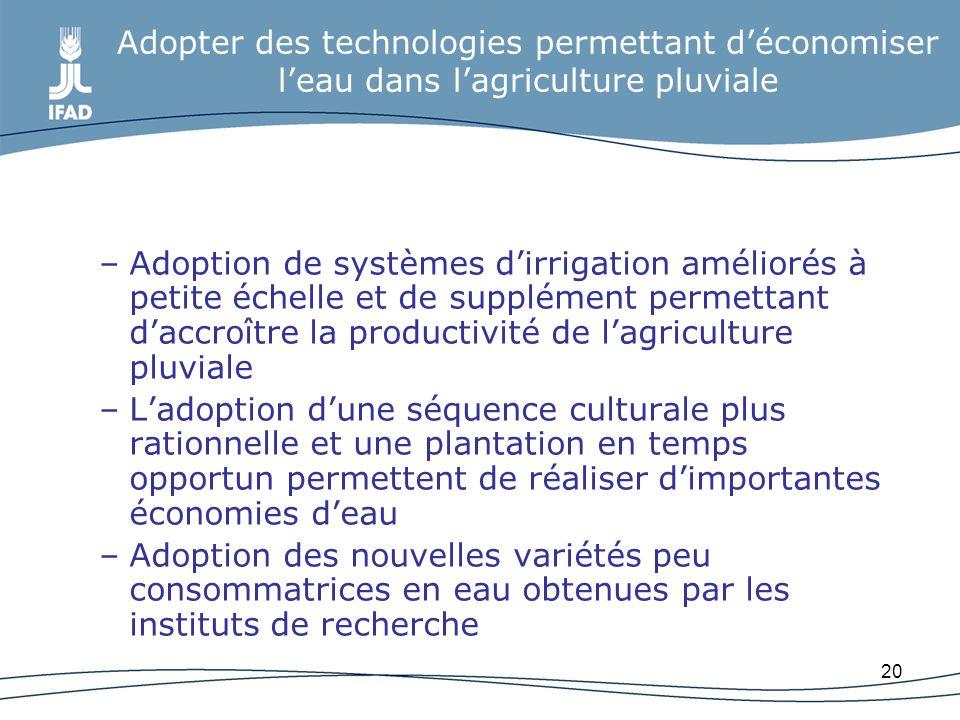 20 Adopter des technologies permettant déconomiser leau dans lagriculture pluviale –Adoption de systèmes dirrigation améliorés à petite échelle et de