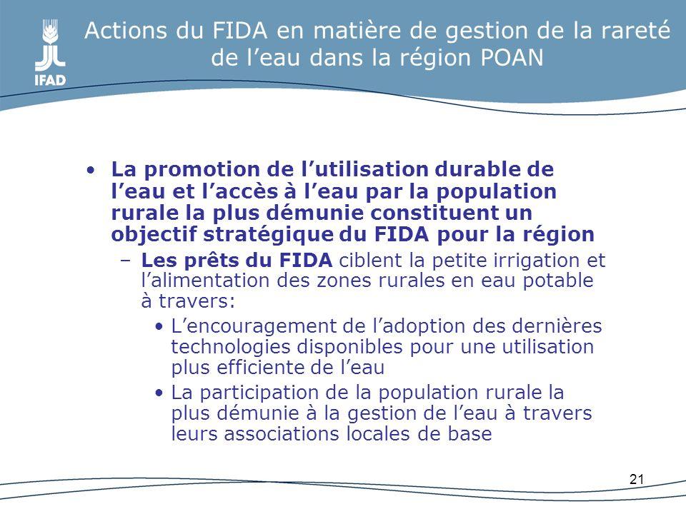 21 Actions du FIDA en matière de gestion de la rareté de leau dans la région POAN La promotion de lutilisation durable de leau et laccès à leau par la