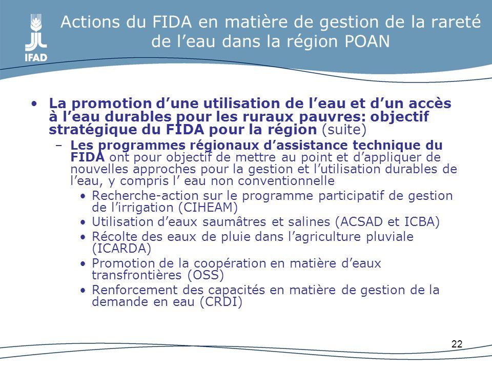 22 Actions du FIDA en matière de gestion de la rareté de leau dans la région POAN La promotion dune utilisation de leau et dun accès à leau durables p