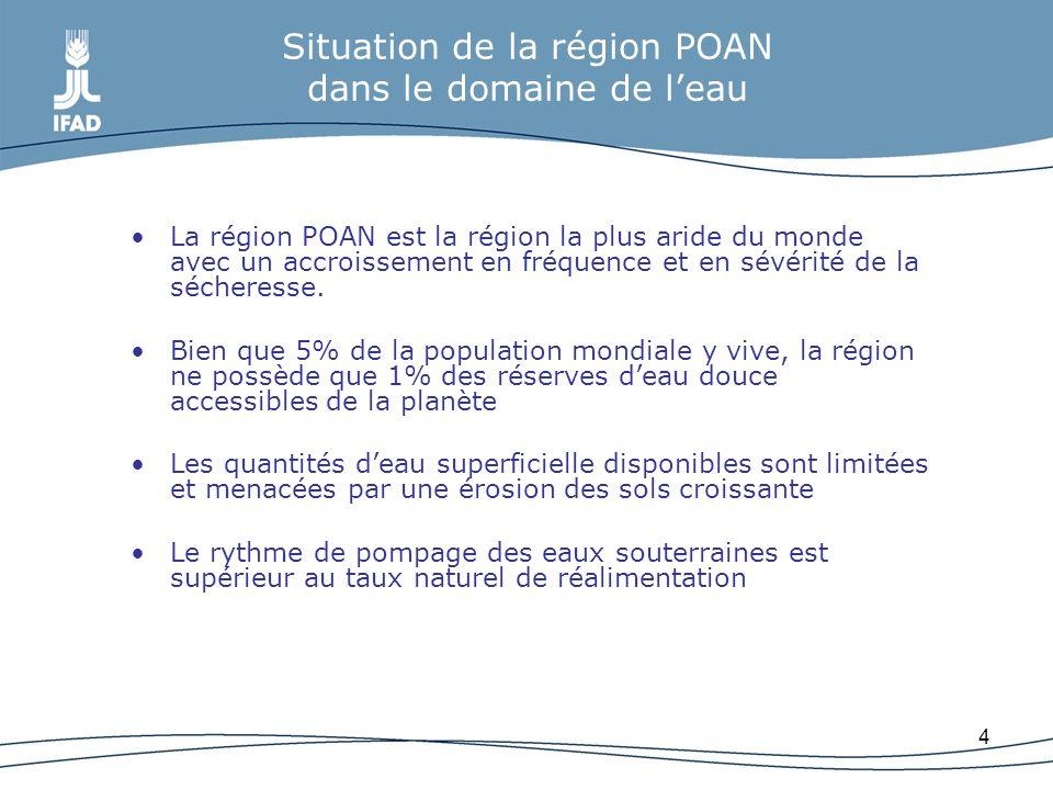 4 Situation de la région POAN dans le domaine de leau La région POAN est la région la plus aride du monde avec un accroissement en fréquence et en sév