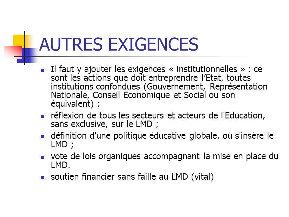 AUTRES EXIGENCES Il faut y ajouter les exigences « institutionnelles » : ce sont les actions que doit entreprendre lEtat, toutes institutions confondu