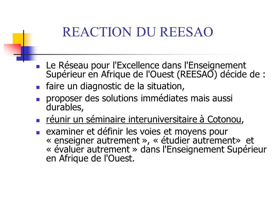 REACTION DU REESAO Le Réseau pour l'Excellence dans l'Enseignement Supérieur en Afrique de l'Ouest (REESAO) décide de : faire un diagnostic de la situ