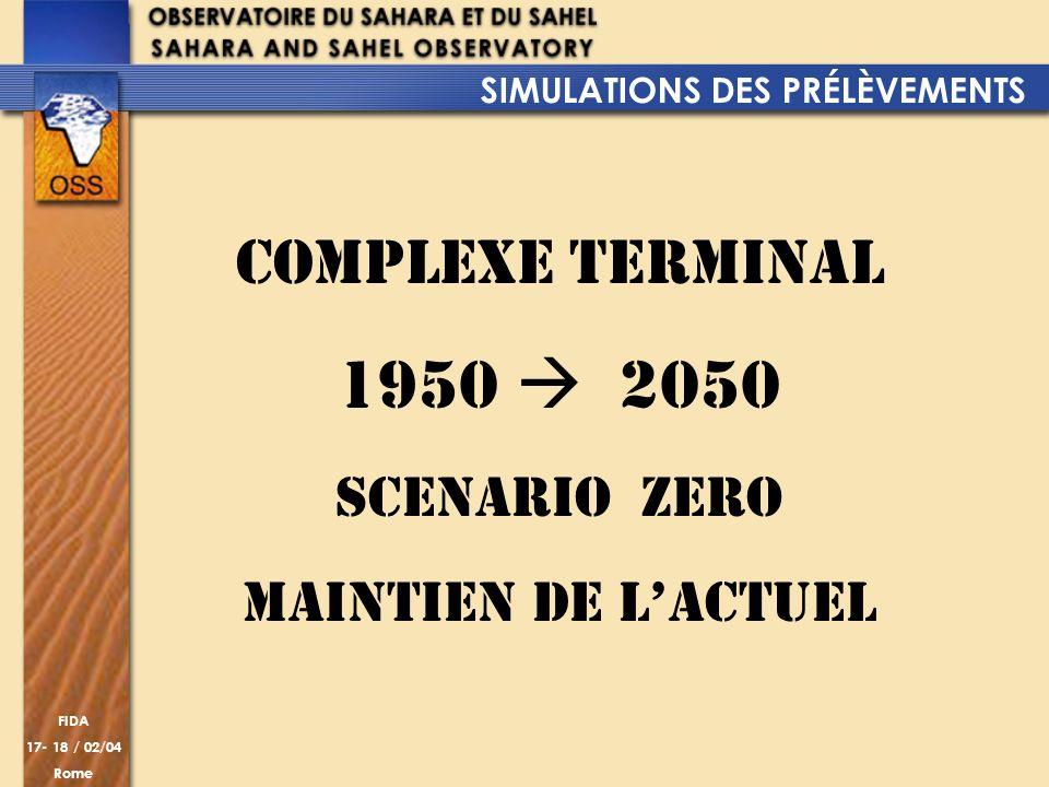 FIDA 17- 18 / 02/04 Rome COMPLEXE TERMINAL 1950 2050 SCENARIO ZERO MAINTIEN DE LACTUEL SIMULATIONS DES PRÉLÈVEMENTS