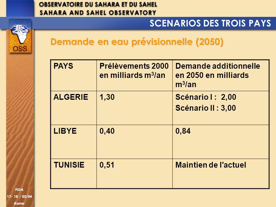 FIDA 17- 18 / 02/04 Rome Demande en eau prévisionnelle (2050) PAYSPrélèvements 2000 en milliards m 3 /an Demande additionnelle en 2050 en milliards m