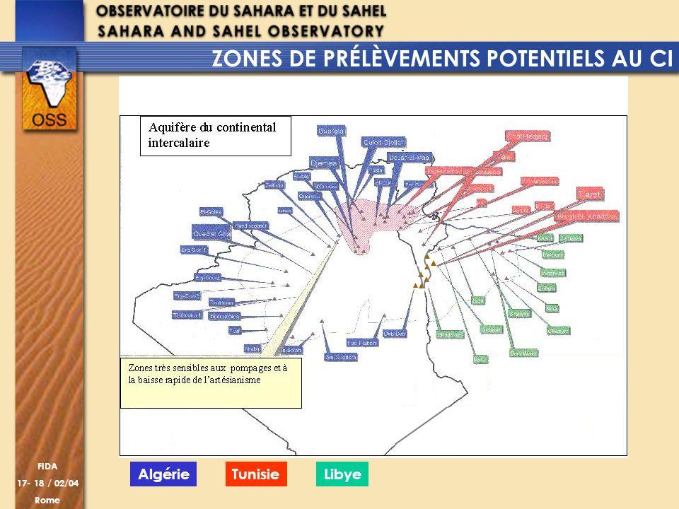 FIDA 17- 18 / 02/04 Rome AlgérieTunisieLibye ZONES DE PRÉLÈVEMENTS POTENTIELS AU CI