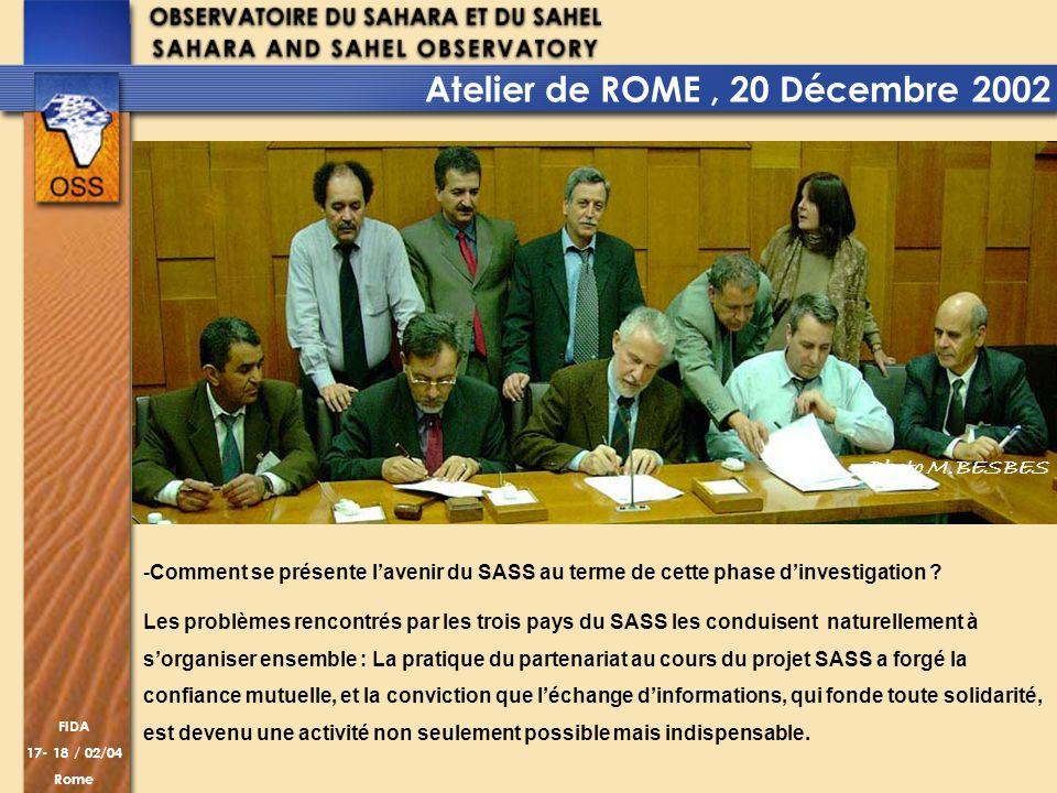 FIDA 17- 18 / 02/04 Rome -Comment se présente lavenir du SASS au terme de cette phase dinvestigation ? Les problèmes rencontrés par les trois pays du