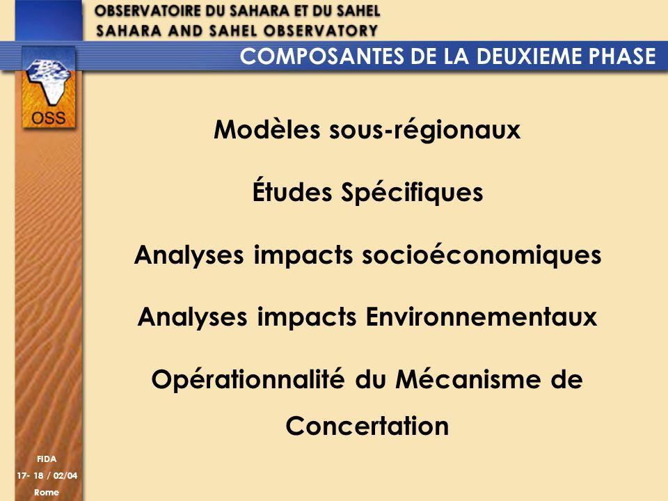 FIDA 17- 18 / 02/04 Rome Modèles sous-régionaux Études Spécifiques Analyses impacts socioéconomiques Analyses impacts Environnementaux Opérationnalité