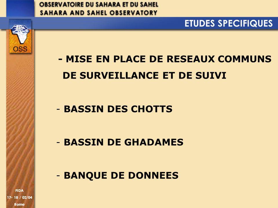 FIDA 17- 18 / 02/04 Rome - MISE EN PLACE DE RESEAUX COMMUNS DE SURVEILLANCE ET DE SUIVI - BASSIN DES CHOTTS - BASSIN DE GHADAMES - BANQUE DE DONNEES E