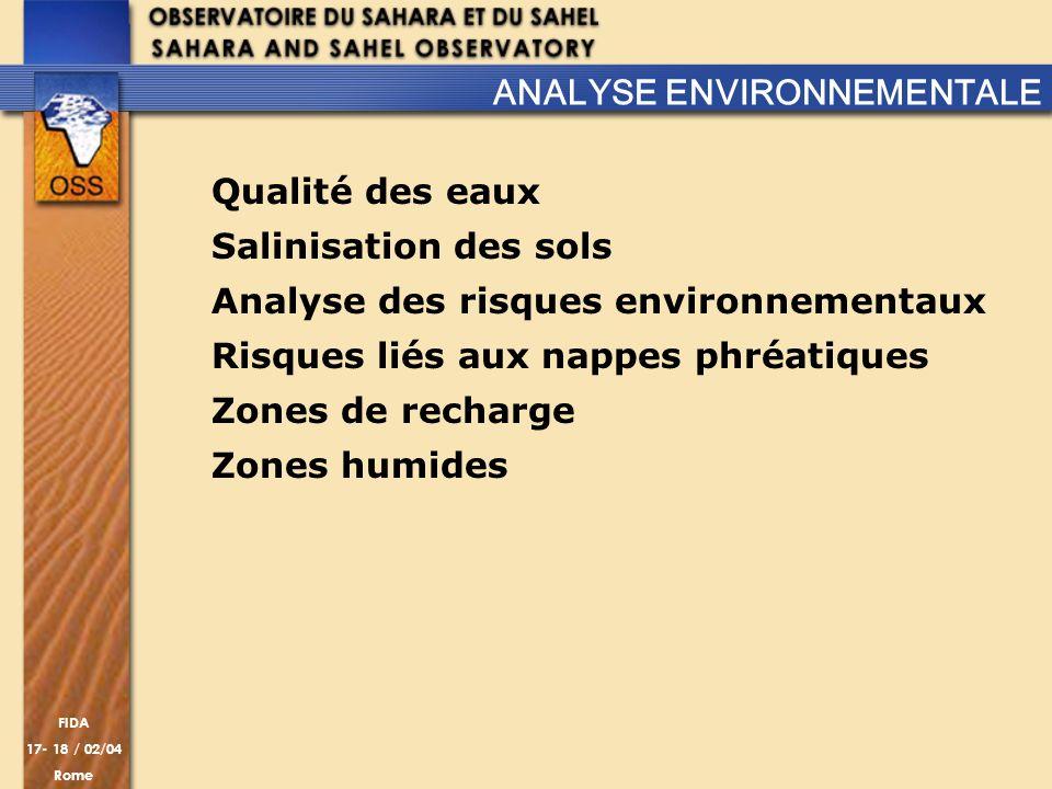 FIDA 17- 18 / 02/04 Rome Qualité des eaux Salinisation des sols Analyse des risques environnementaux Risques liés aux nappes phréatiques Zones de rech