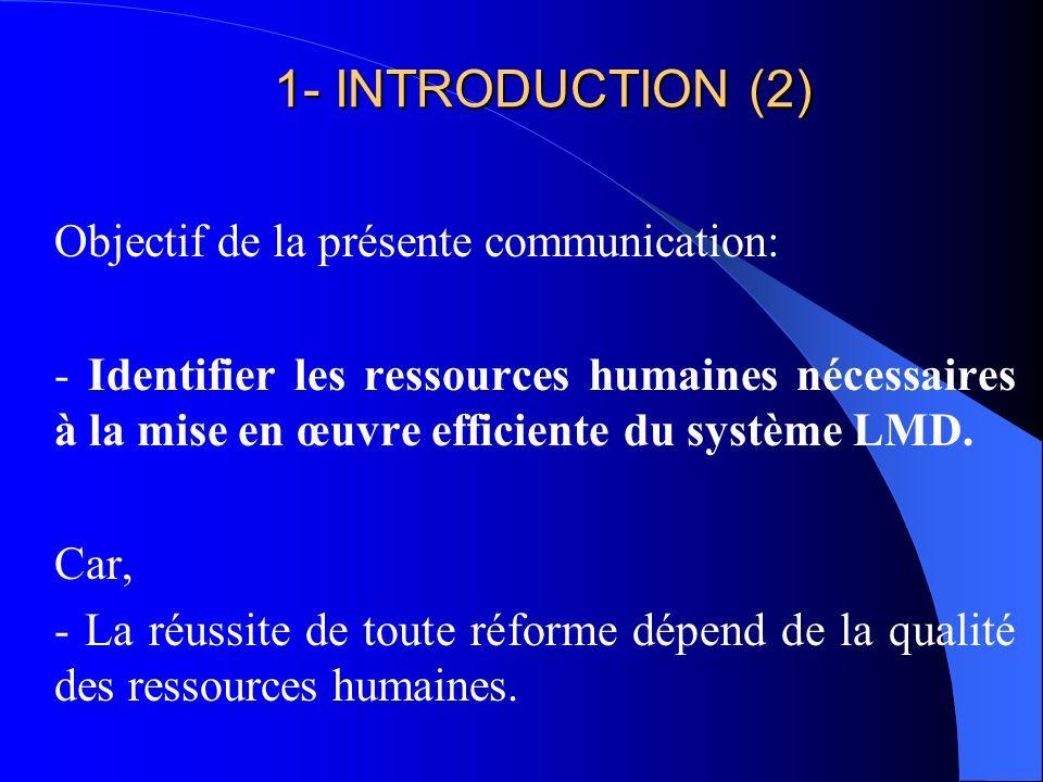 1- INTRODUCTION (1) Un des objectifs du REESAO: - la gestion mutuelle du système LMD. A travers : - Cinq rencontres pour informer et sensibiliser les