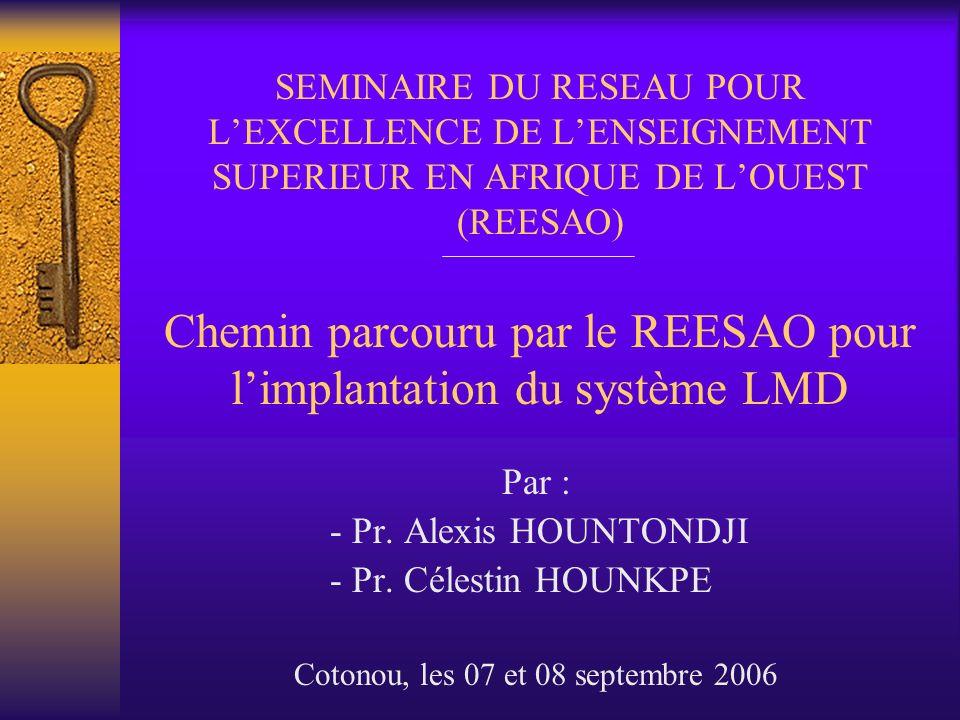 1- Le REESAO 1.1- Origine de lidée de la création dun tel réseau Au séminaire de Yaoundé du 1er au 3 mars, organisé par lAUF, la CRUFAOCI… Les Recteurs des UNB et le Président de lUL