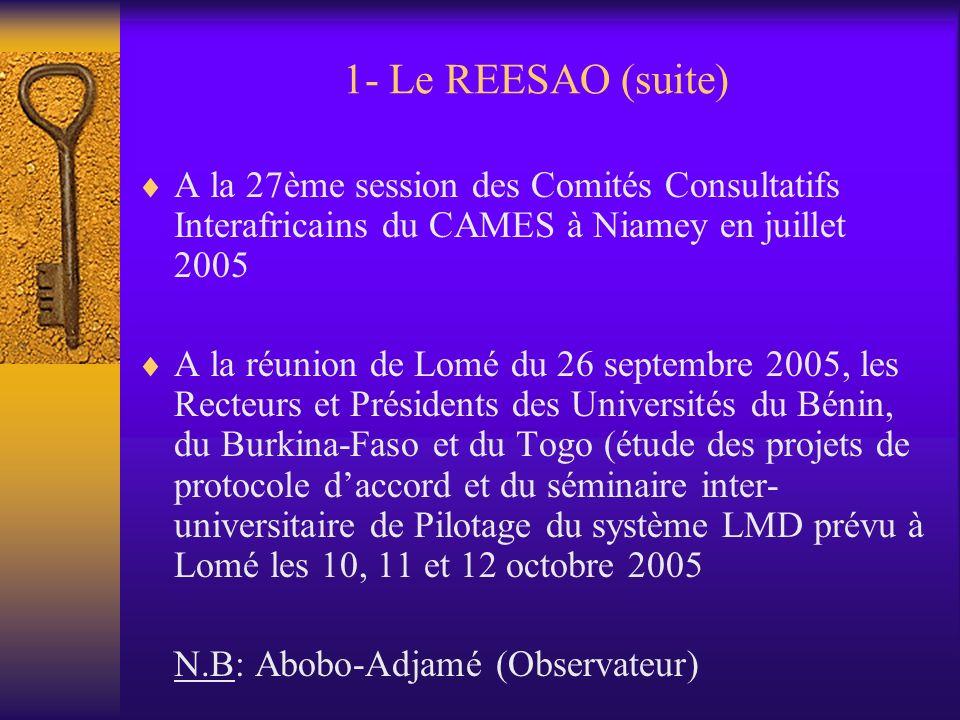 1- Le REESAO 1.1- Origine de lidée de la création dun tel réseau Au séminaire de Yaoundé du 1er au 3 mars, organisé par lAUF, la CRUFAOCI… Les Recteur
