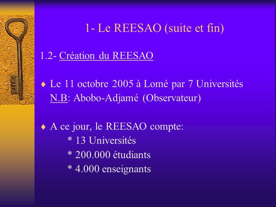 1- Le REESAO (suite) A la 27ème session des Comités Consultatifs Interafricains du CAMES à Niamey en juillet 2005 A la réunion de Lomé du 26 septembre