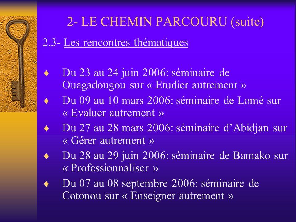2- LE CHEMIN PARCOURU (suite) 2.2- Phase préparatoire en vue de démarrer le LMD dès 2007 Octobre 2005-juin 2006: Information et sensibilisation Octobr
