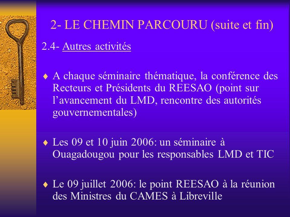 2- LE CHEMIN PARCOURU (suite) 2.3- Les rencontres thématiques Du 23 au 24 juin 2006: séminaire de Ouagadougou sur « Etudier autrement » Du 09 au 10 ma