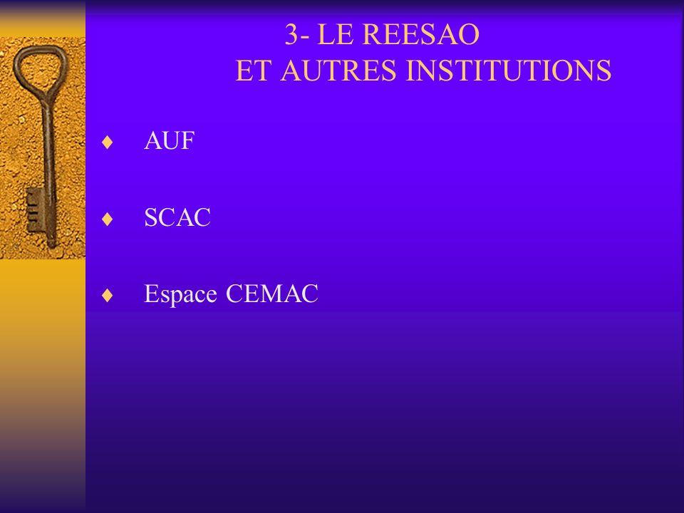 2- LE CHEMIN PARCOURU (suite et fin) 2.4- Autres activités A chaque séminaire thématique, la conférence des Recteurs et Présidents du REESAO (point su
