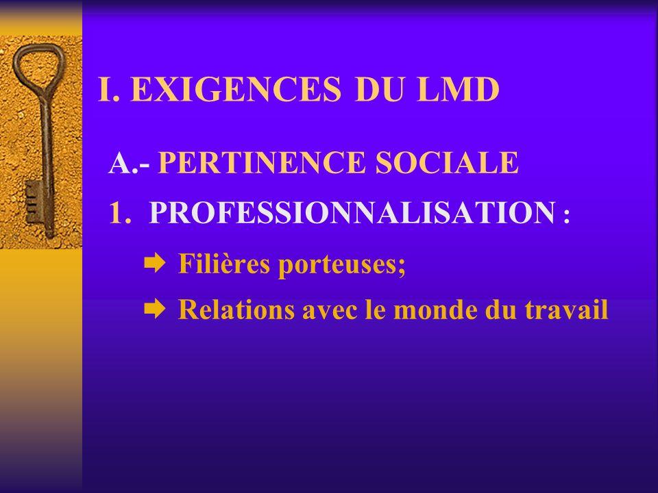 I.EXIGENCES DU LMD A.- PERTINENCE SOCIALE 1.