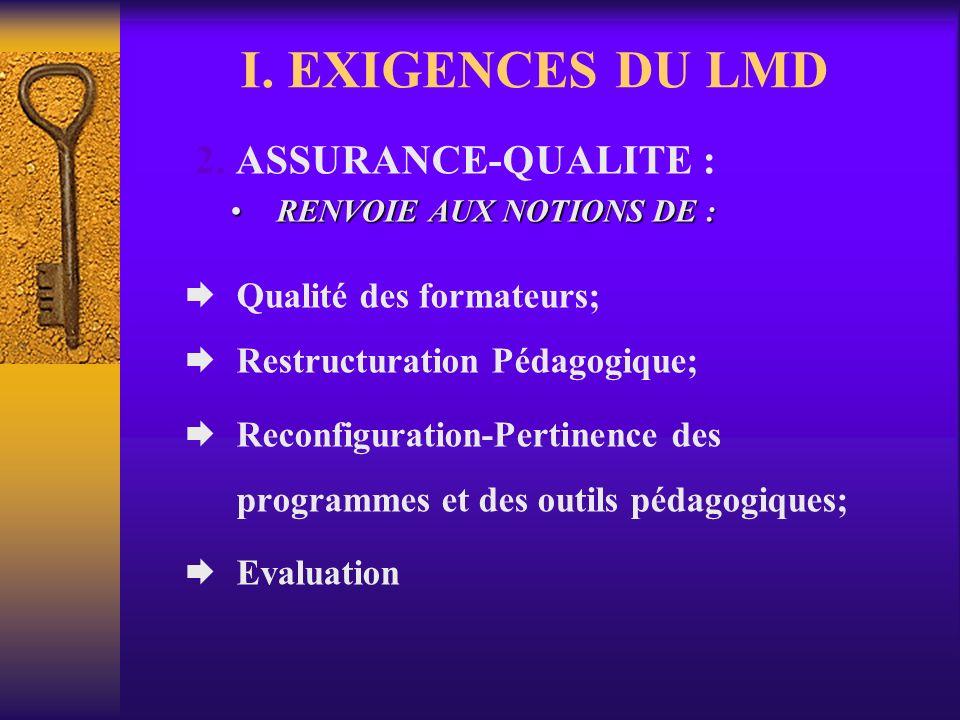 I. EXIGENCES DU LMD A.- PERTINENCE SOCIALE 1. PROFESSIONNALISATION : Filières porteuses; Relations avec le monde du travail