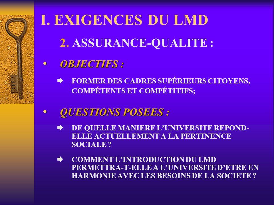 I. EXIGENCES DU LMD 2. ASSURANCE-QUALITE : RENVOIE AUX NOTIONS DE :RENVOIE AUX NOTIONS DE : Qualité des formateurs; Restructuration Pédagogique; Recon