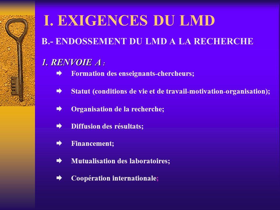 I. EXIGENCES DU LMD 2. ASSURANCE-QUALITE : OBJECTIFS : OBJECTIFS : FORMER DES CADRES SUPÉRIEURS CITOYENS, COMPÉTENTS ET COMPÉTITIFS; QUESTIONS POSEES