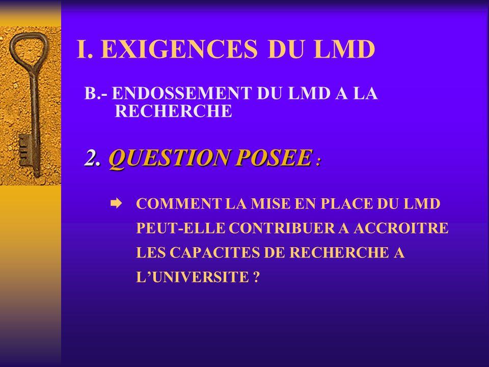 I. EXIGENCES DU LMD B.- ENDOSSEMENT DU LMD A LA RECHERCHE 1. RENVOIE A : Formation des enseignants-chercheurs; Statut (conditions de vie et de travail