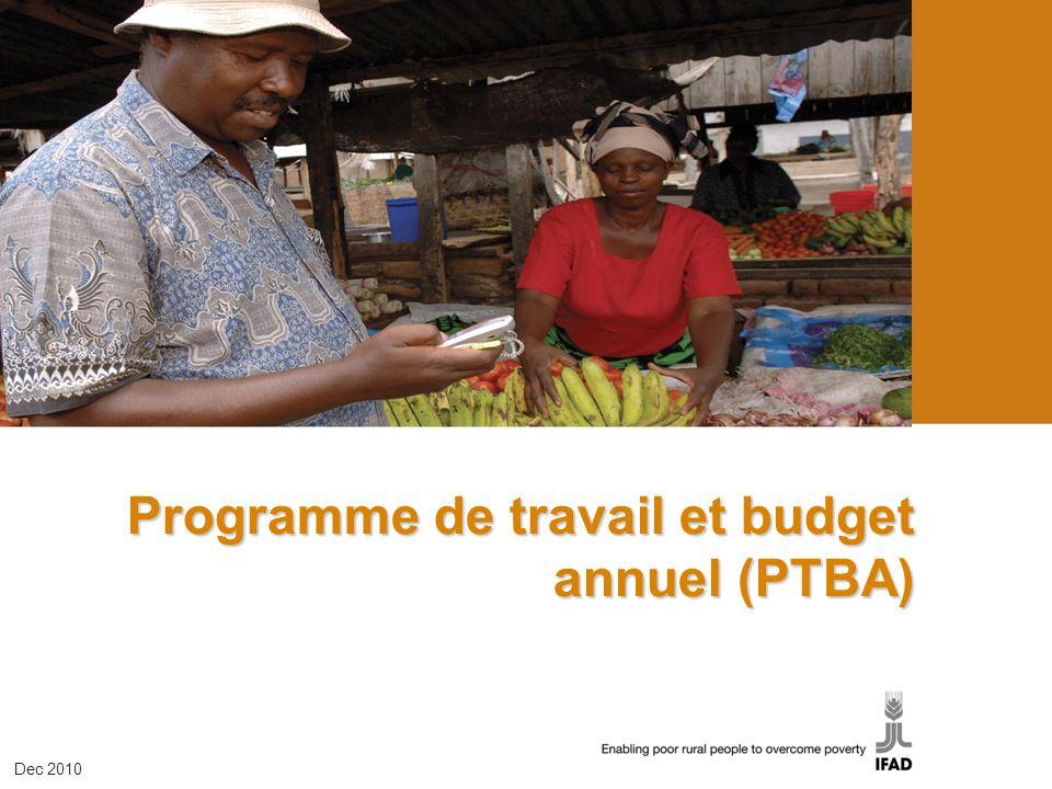Programme de travail et budget annuel (PTBA) Dec 2010