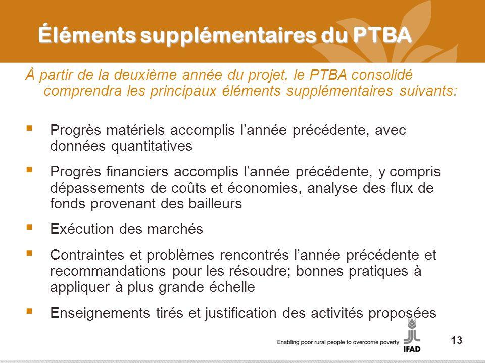 Éléments supplémentaires du PTBA À partir de la deuxième année du projet, le PTBA consolidé comprendra les principaux éléments supplémentaires suivants: Progrès matériels accomplis lannée précédente, avec données quantitatives Progrès financiers accomplis lannée précédente, y compris dépassements de coûts et économies, analyse des flux de fonds provenant des bailleurs Exécution des marchés Contraintes et problèmes rencontrés lannée précédente et recommandations pour les résoudre; bonnes pratiques à appliquer à plus grande échelle Enseignements tirés et justification des activités proposées 13