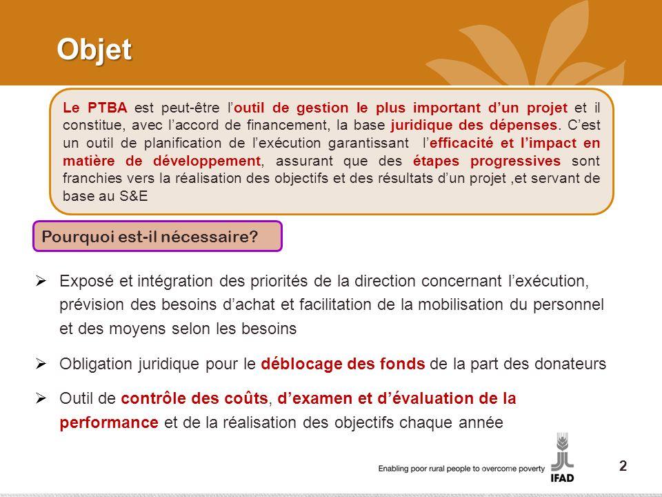 Objet Exposé et intégration des priorités de la direction concernant lexécution, prévision des besoins dachat et facilitation de la mobilisation du pe