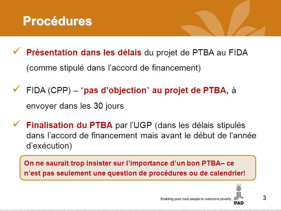 Procédures Présentation dans les délais du projet de PTBA au FIDA (comme stipulé dans laccord de financement) FIDA (CPP) – pas dobjection au projet de PTBA, à envoyer dans les 30 jours Finalisation du PTBA par lUGP (dans les délais stipulés dans laccord de financement mais avant le début de lannée dexécution) On ne saurait trop insister sur limportance dun bon PTBA– ce nest pas seulement une question de procédures ou de calendrier.