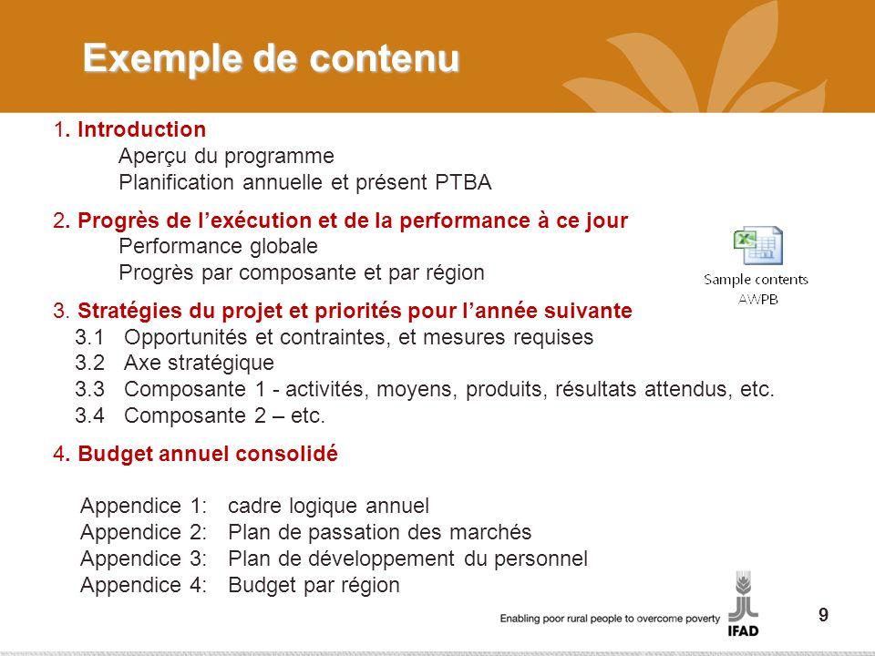 Exemple de contenu 1. Introduction Aperçu du programme Planification annuelle et présent PTBA 2. Progrès de lexécution et de la performance à ce jour