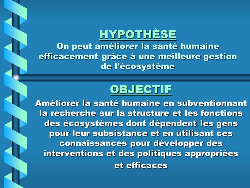 HYPOTHÈSE On peut améliorer la santé humaine efficacement grâce à une meilleure gestion de lécosystème OBJECTIF Améliorer la santé humaine en subventi
